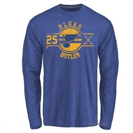 Men's Chris Butler St. Louis Blues Insignia Tri-Blend Long Sleeve T-Shirt - Royal